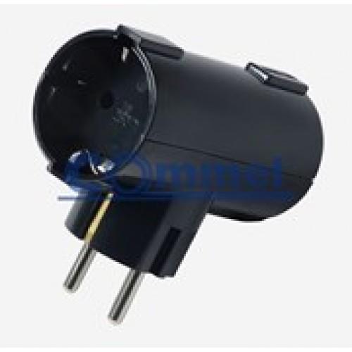 T razdjelnik dvostruki 6338-2, crni 16A